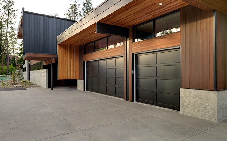 现代车库门,你最喜欢哪种风格?漂亮时尚颜色条纹风格车库门图片