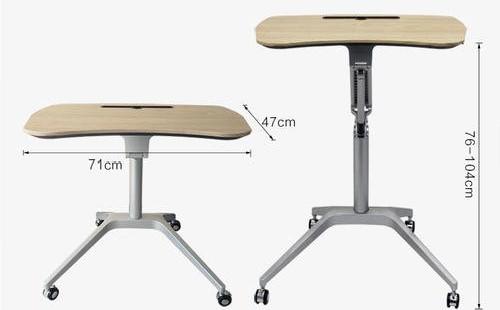 跪著的椅子和便攜式筆記本電腦辦公桌搭配在一起